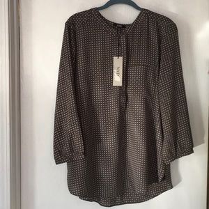 NYDJ Olive Green Print Top NWT